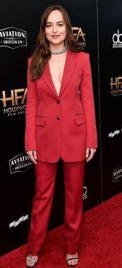 pants,blazer,suit,red,dakota johnson,jacket