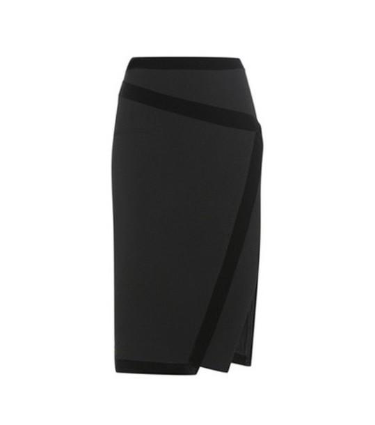 Altuzarra Jed Velvet-trimmed Crêpe Skirt in black