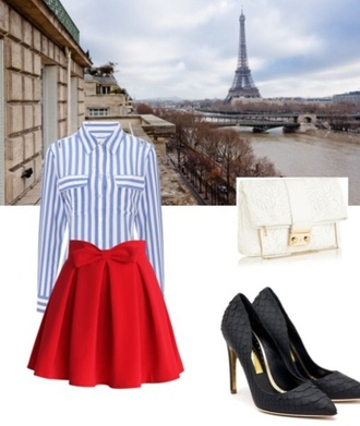 shoes blouse bag skirt classy outfit red skirt striped shirt black heels