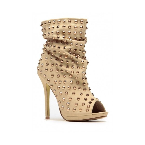 Liliana Studded Slouchy Beige Peep Toe Booties - Polyvore