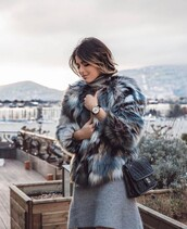 jacket,tumblr,fur jacket,faux fur jacket,printed fur jacket,printed jacket,bag,black bag,mini knit dress,grey knit dress,knitwear,knitted dress,sweater dress,watch,dress