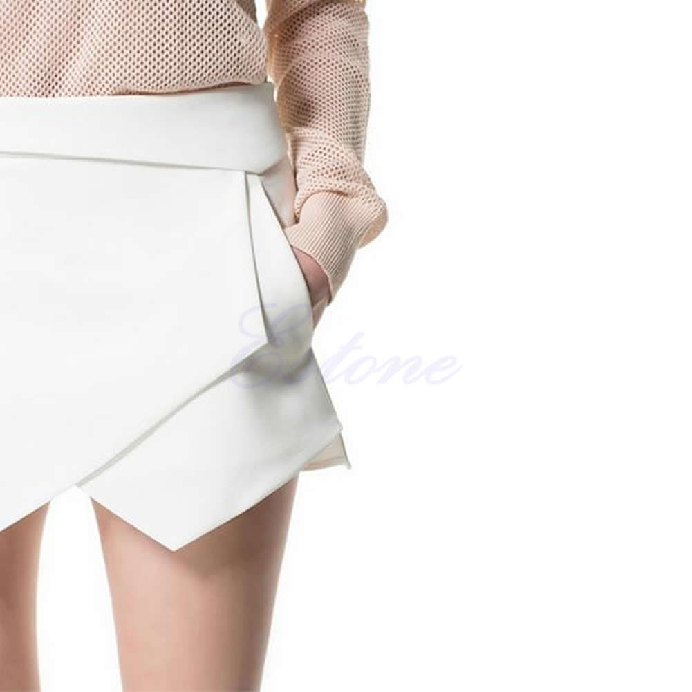 Fashion Women Stylish Casual Wrap Mini Skort Skirt Irregular Laminated Flanging | eBay