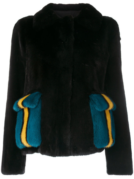 BLANCHA jacket pocket jacket fur women cotton black