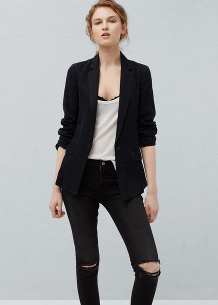 Jacket Blazer Mango Black Black Blazer Office Outfits Back To
