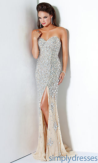 Strapless sweetheart sequin dress, jovani gowns