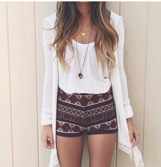 shorts short shorts high waisted shorts aztec summer summer outfits outfit outfit idea tumblr tumblr outfit fashion fashion vibe