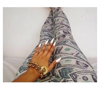 leggings money dollars green
