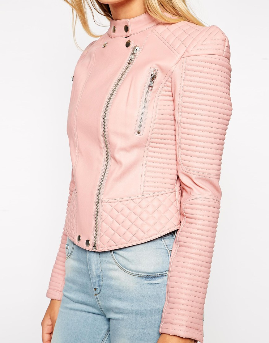 ASOS Leather Look Biker Jacket with Structured Shoulder at asos.com