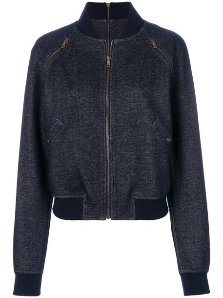 Tomas Maier jacket bomber jacket denim women spandex cotton blue knit