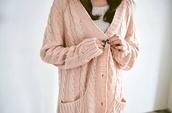 sweater,light cream pink cardigan knit,cardigan,light pink,knitted cardigan,knits