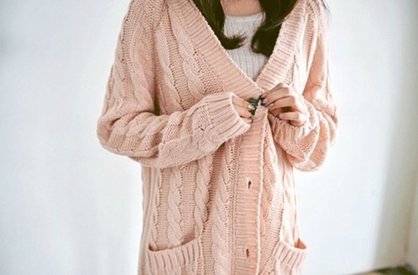 Sweater: light cream pink cardigan knit, cardigan, light pink ...