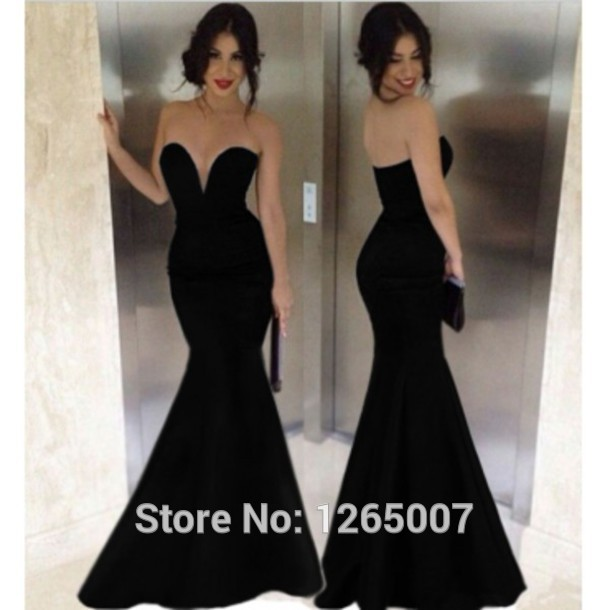 Long black fitted evening dresses