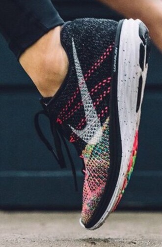 shoes nike running shoes multicolor nike free run nike flyknit colorful rainbow black nike shoes nike sneakers