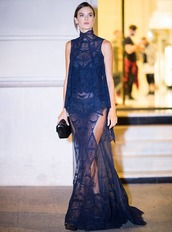 dress,navy,navy dress,lace dress,lace,alessandra ambrosio,model,paris fashion week 2016,gown,wedding dress,prom dress,slit dress