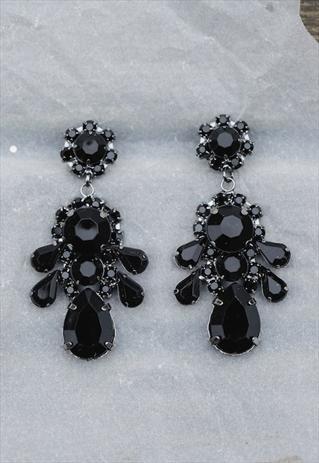 Black gems drop elegant statement earrings | holypinkofficial | ASOS Marketplace