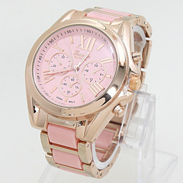 Designer Platinum Geneva Rose Gold Pink Chronograph Fashion Watch | eBay