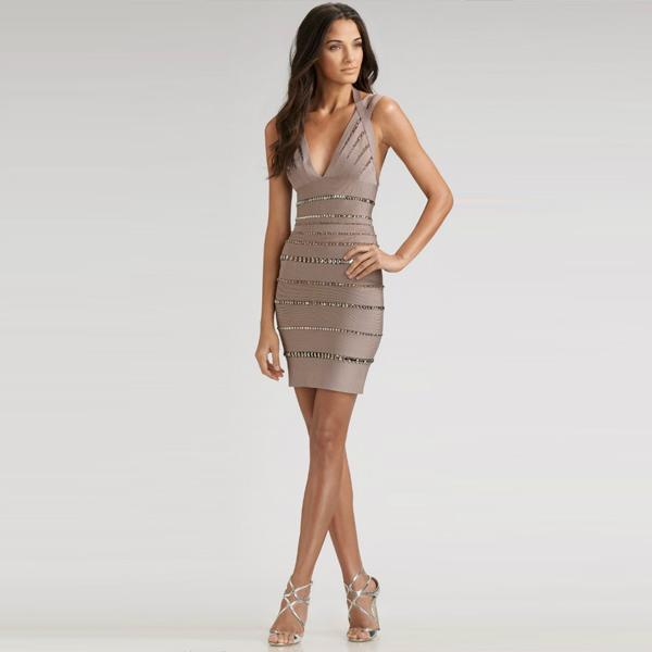 Brown Sexy Dress - Bqueen Crystal-embellished Bandage Dress H01Z | UsTrendy