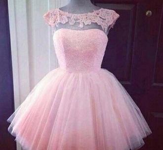 dress light pink short lace dress