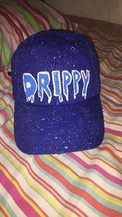 hat,blue,sparkle,drippy