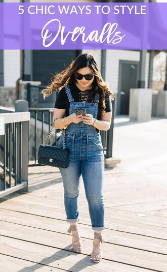 sandy a la mode blogger t-shirt shoes bag sunglasses overalls chanel bag sandals spring outfits