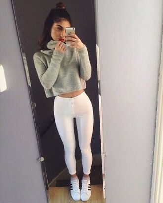 sweater green crop tops jumper adidas white pants