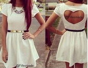 dress,white dress,love,heart,cute dress,prom dress,love hearts,girl,where did u get that,girly,keyhole back dress,white
