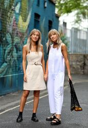 dress,beige dress,short dress,jumpsuit,sandals,slide shoes,shoes,bag