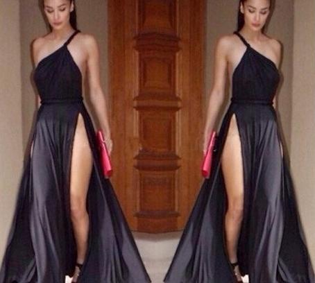 Sexy slit maxi dress