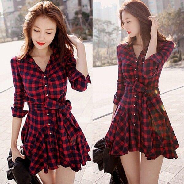 Women korean plaid lapel v neck long sleeve pleated cotton mini dress apparel