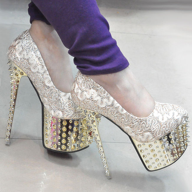 Gold Women Party Platform Studded Spike Glitter Lace High Heel Shoes US9/EU40