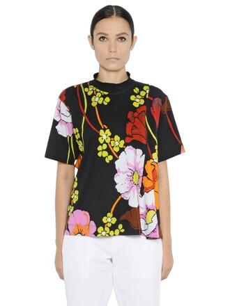 t-shirt shirt floral cotton black top