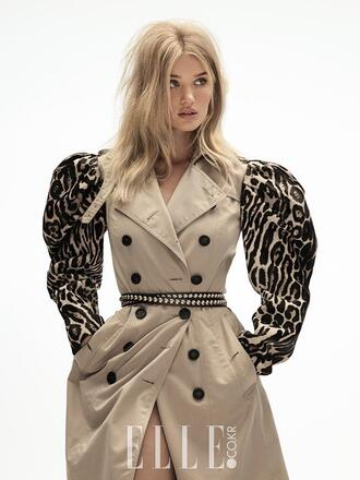 coat trench coat rosie huntington-whiteley belt animal print editorial