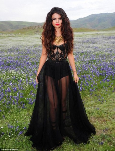 Dress Selena Gomez Sheer Corset Top Sexy Dress Black Dress
