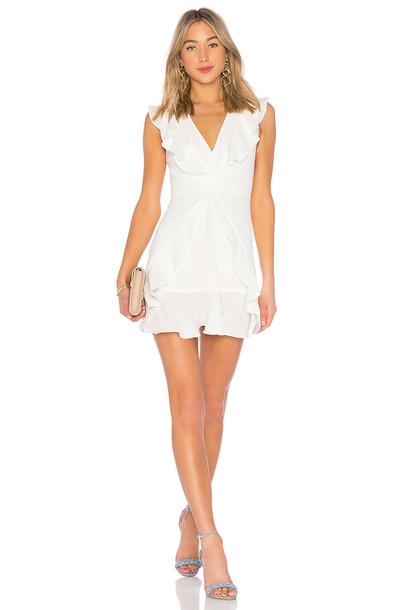 BCBGMAXAZRIA Tyrah Ruffle Mini Dress in white