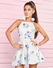 dress,ariana grande,mini dress,floral dress,summer dress,summer outfits,summer,earrings,jewels,pompon earrings