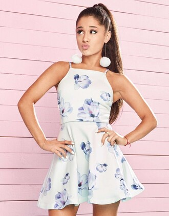dress ariana grande mini dress floral dress summer dress summer outfits summer earrings jewels