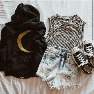 jacket black jacket moon moonchild yellow printed top stripes striped shirt shirt urban grungy denim shorts chucks converse black and white shirt allblackoutfits soft grunge streetwear girls sneakers