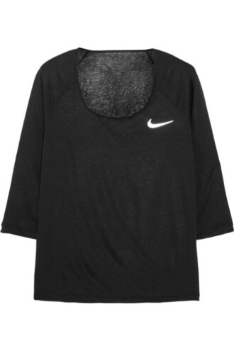 t-shirt nike athletic top activewear black t-shirt