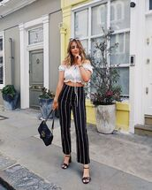 pants,stripes,striped pants,black pants,top,crop tops,bag,shoes