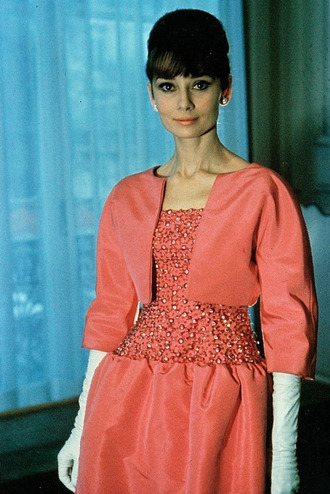 dress audrey hepburn actress orange dress jacket peach jacket peach dress gloves white gloves long gloves hairstyles pearl earrings natural makeup look eye makeup