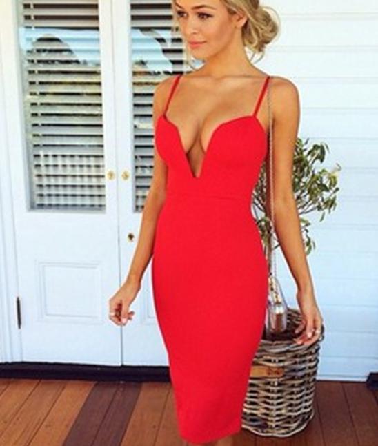 Hot red v cute dress