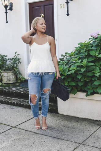 fashionably lo blogger jeans shoes bag white top tank top white tank top skinny jeans ripped jeans nude heels sandal heels spaghetti straps dress spaghetti strap summer top blue jeans cuffed jeans black bag handbag summer outfits sandals high heel sandals nude sandals