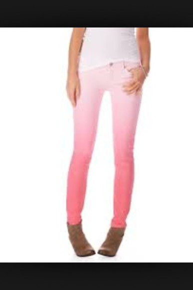 pink and white jeans