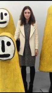 lily collins,cream coat,off white jacket,zips,coat,dress,black and white,grey,grey dress,black and white dress