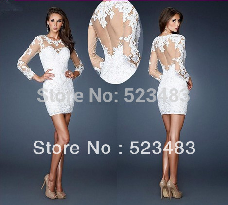 Wholesale white Mini Lace Long Sleeves Short Prom Cocktail Dress Dresses Store Mini C001-in Cocktail Dresses from Apparel & Accessories on Aliexpress.com | Alibaba Group
