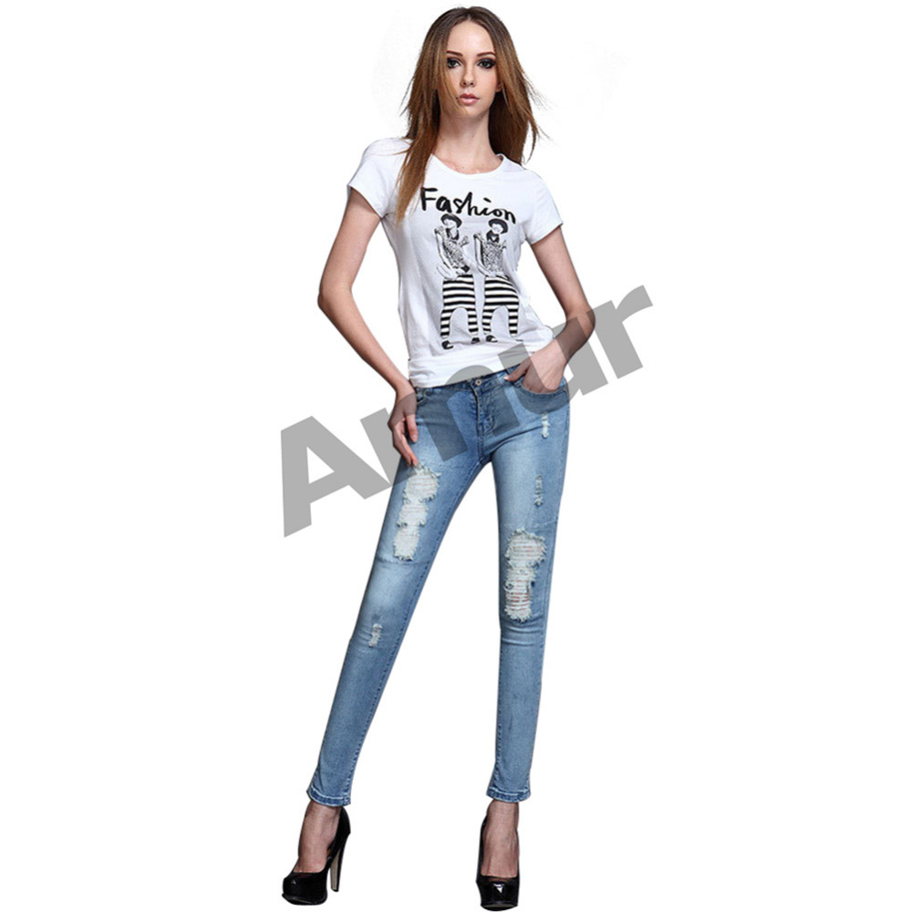 NEW Women's Fashion Distressed Jeans Slim fit Skinny Jeans Ripped Pants Pencil Trousers Light Blue-in Jeans from Apparel & Accessories on Aliexpress.com
