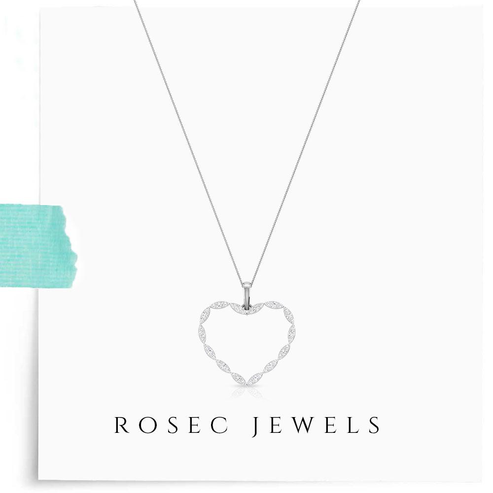 14k White Gold Open Heart Pendant, Round Diamond Pendant Necklace, Golden Marquise Illusion Heart Pendant for Women