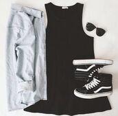 dress,black dress,shoes,black and white,cardigan,sweater,vans,high tops,sunglasses,flannel,jacket,denim jacket