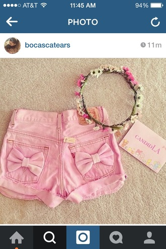 shorts bows pink bow pastel kawaii cute pretty skirt