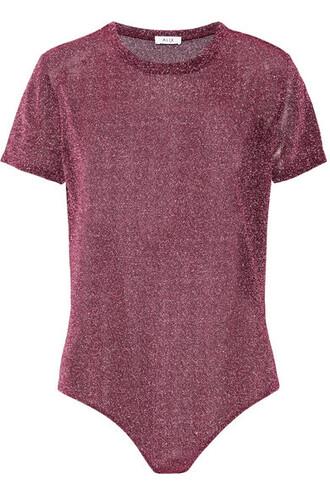 bodysuit metallic knit plum underwear